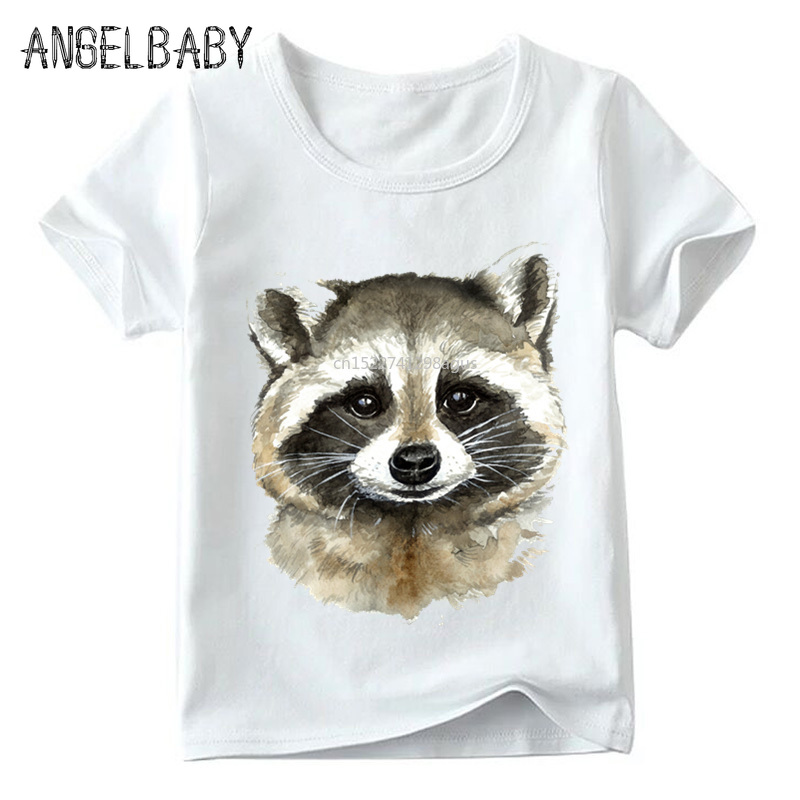 Boys/Girls Watercolor Raccoon Print Funny T Shirt Kids Summer Short Sleeve Tops Children Soft White T-shirt,ooo5058