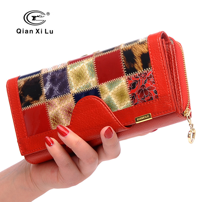 Hot Sale Clutch Women Wallets with Coin Pocket Female Money Bags Fashion Genuine Leather Patchwork Ladies Purse Card Holder 2017 genuine leather women wallets high quality zipper ladies coin purse female clutch bag money credit card holder phone bags