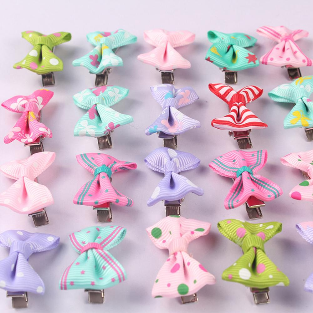 Stripe Colorful Bow Baby Hair Clips In Baby Girls Hair Accessories Solid Clip Pins Hair Pins For Girls Dot Ribbon Infant Pin