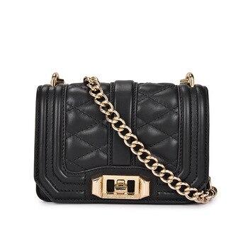RM8913  European and American fashion Top layer cowhide Crossbody Bag mini leather Shoulder bags Women Lattice Chain Bag