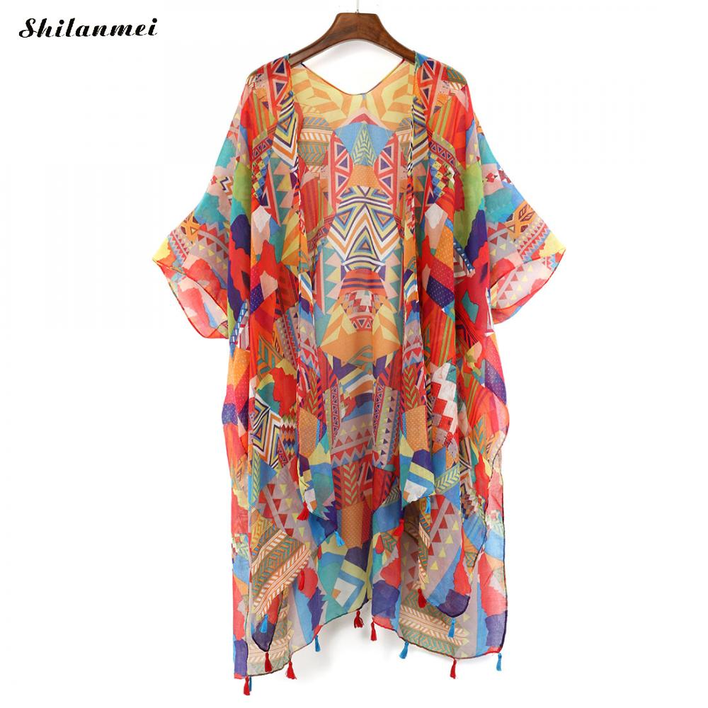 Top Kimono Shirt Boho Blouse Long-Cardigan Bluse Colorful Women Vintage Femme Beach Summer title=