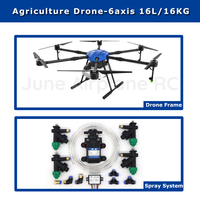 EFT E616 16L waterproof Agricultural spraying drone flight platform 1630mm wheelbase 16KG sprayer system Folding X8 motor