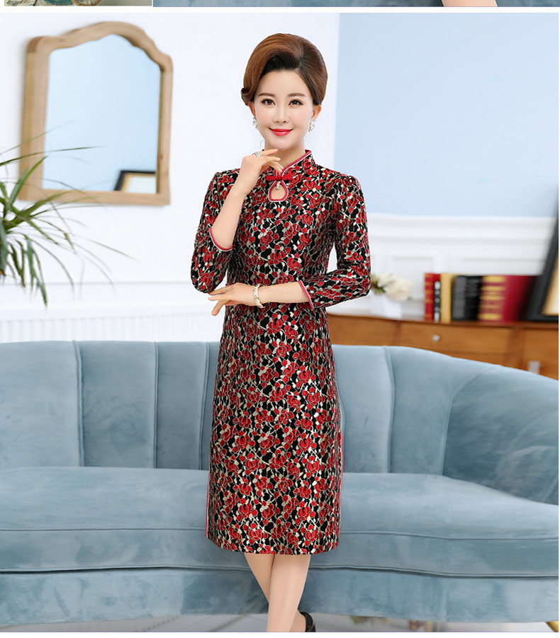 Woman Slim Fit Dresses Mandarin Collar Qipao Dress Women Long Sleeve Side Slit Gown Robe Femme Ethnical One Picee Womans Oriental Dresses (7)