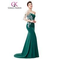 גרייס קארין סימטרי שמלות אירוע מיוחד אפליקציות תחרת שרוול ארוך שמלת הערב ירוק כהה בת ים שמלות ערב 2018