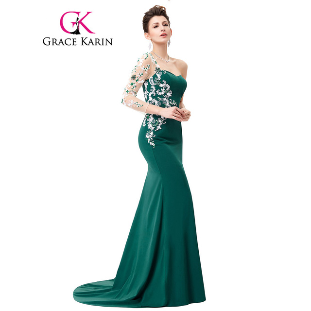 Grace Karin Asymmetrical Long Sleeve Evening Dress Appliques Lace Special  Occasion Gowns Dark Green Mermaid Evening Dresses 2018 2991167c7173