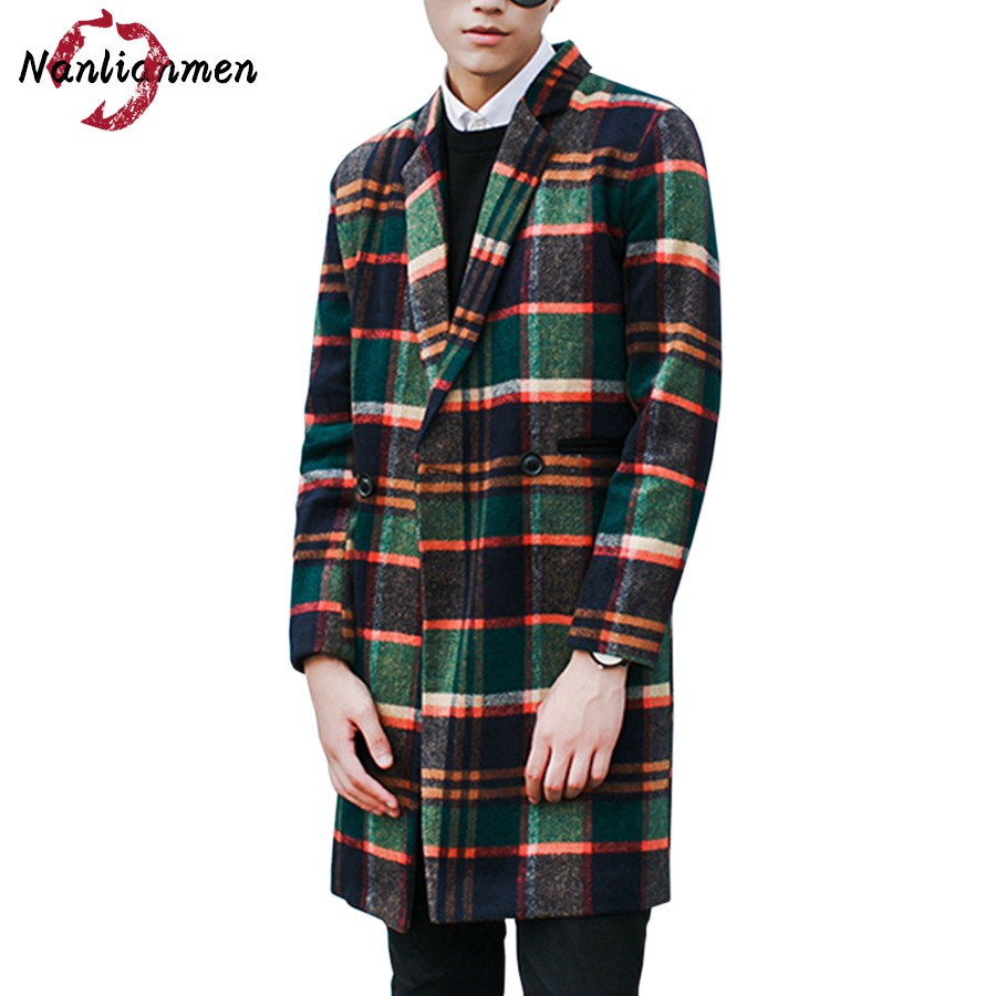 2017 Top Full Standard Casual New Plaid Mens Long Wool Coat Abrigos Lana Para Hombres Pea Coats Male Overcoat Winter Jacket Man