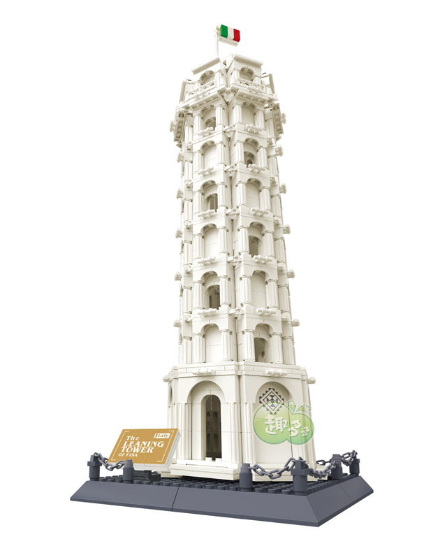 Wange 8012 1392pcs World's Great Architecture Series The Leaning Tower of Pisa Italy Building Blocks Brick Toy Educational toys wange louvre of paris building blocks set model small architecture series 2017 classic educational toys for children gifts