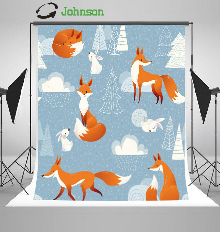 Winter Cute Foxes Rabbits Decorations Tree Clouds photo backdrop polyester or Vinyl cloth Computer print wall background