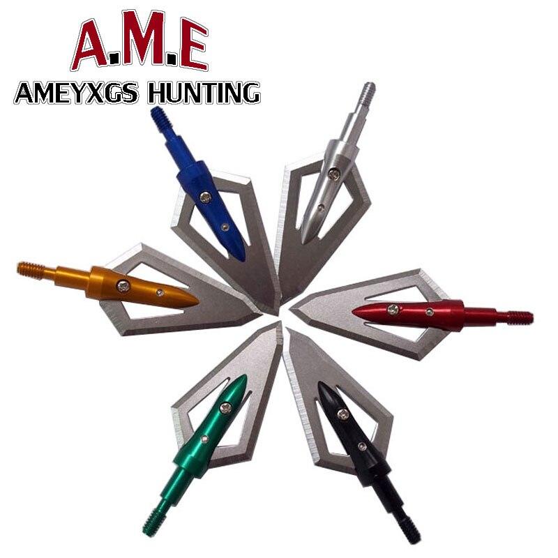 6 Pcs Hunting Arrow Tips 100 Grains Points Compound Bow Archery Arrowheads
