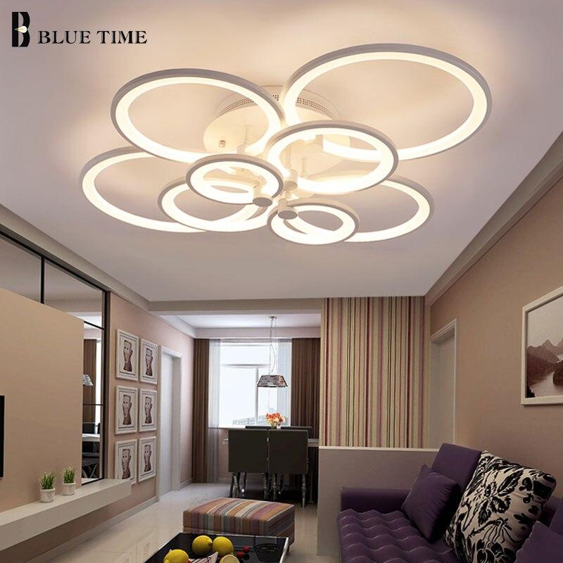 לבן & שחור מודרני LED נברשת לסלון חדר שינה חדר אוכל מנורות אקריליק טבעות Led תקרת נברשת תאורה