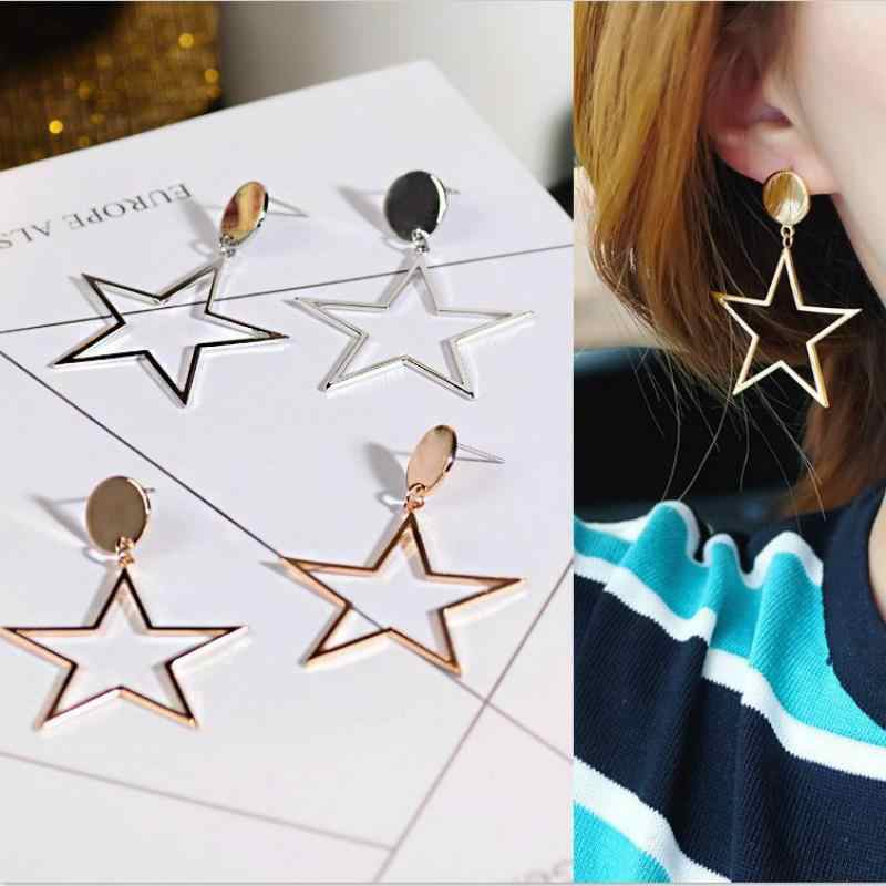 2019 New European And American Style Personality Exaggerated Fashion Hollow Five-pointed Star Simple Trend Wild Star Earrings