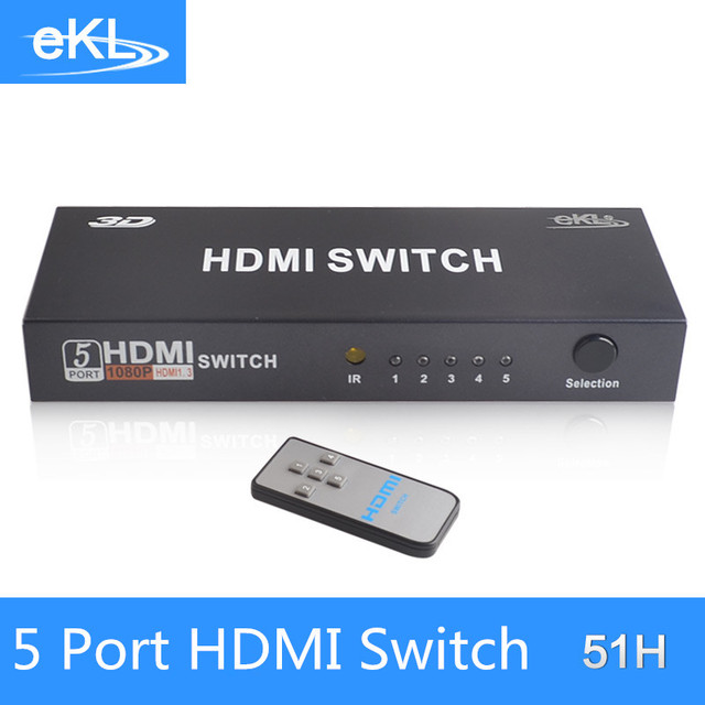 EKL HDMI 5 Input 1 Output 1080P high-definition switch,5 Port  HDMI Switcher