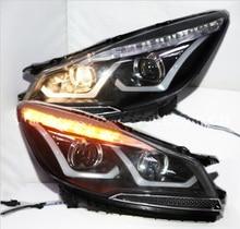 2 sztuk Car Styling dla Kuga reflektory 2014 2015 rok Escape reflektor DRL soczewki biksenonowe wysoka martwa wiązka Parking mgła Lam