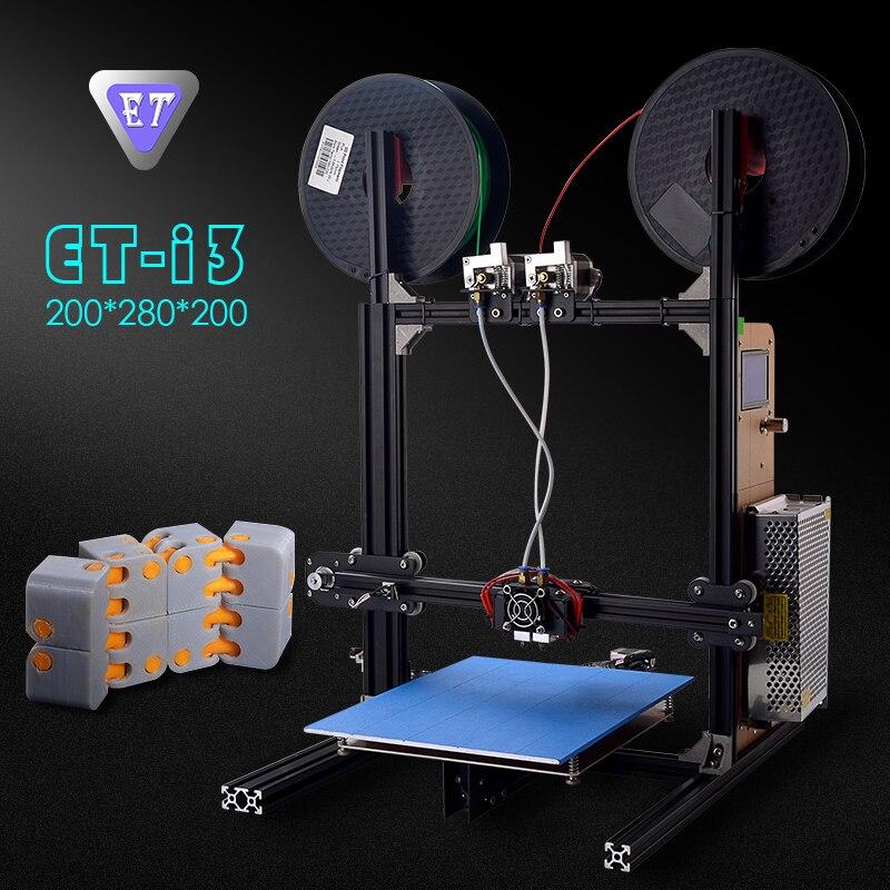 ET 3D принтеры i3 DIY Наборы металлический каркас двойной экструдер Auto Level большой плюс Размеры Цвет Сенсорный экран и лазерный гравер Wi Fi модуль