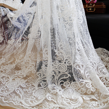Sequin Embroidery Lace Fabric Wedding Handmade DIY Material Garment Tablecloth Curtain Decoration lace Accessories