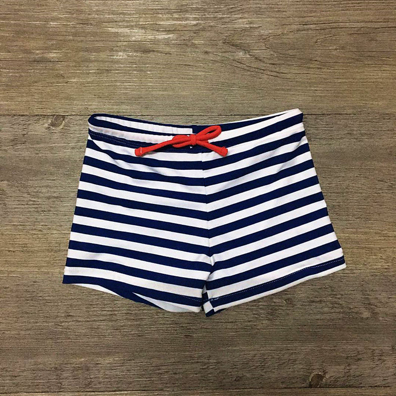 2018 Striped Print Kids Sunga Infantil Children Swimming Trunks for A Boy Beach Trunks Children Swimsuit Swimwear Bathing Suit side drawstring contrast trim swimming trunks