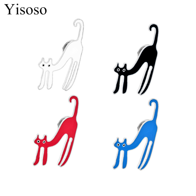 Yisoso Cute Little Cat Brooches Pin Up Jewelry For Girl boy Suit Hats Clips Corsages Brand Bijoux Brooch Bijouterie 4 Color