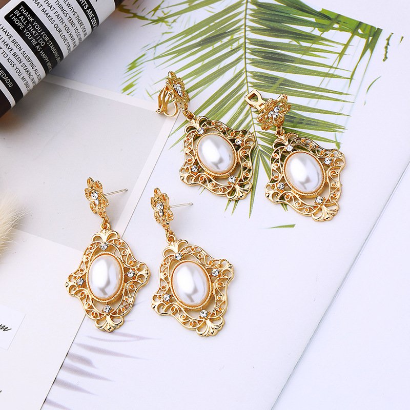 Baroque hollow flower pearl inlaid earrings female fashionable temperament Earrings ear clip cuff in Clip Earrings from Jewelry Accessories