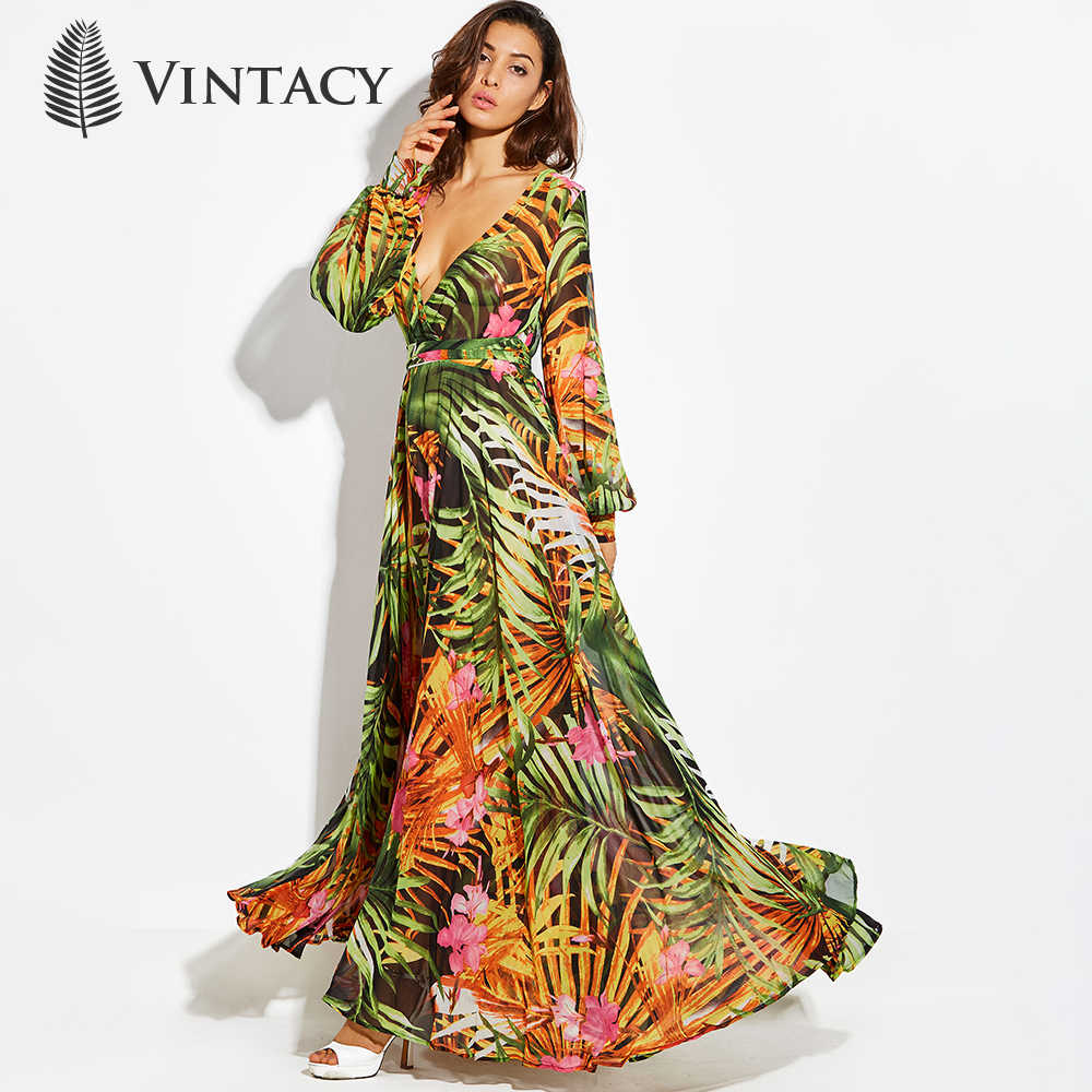 76702f9ee7ea ... Vintacy Print Long Sleeve Dress Tropical Beach Vintage Maxi Dresses Boho  Casual V Neck Belt Lace ...