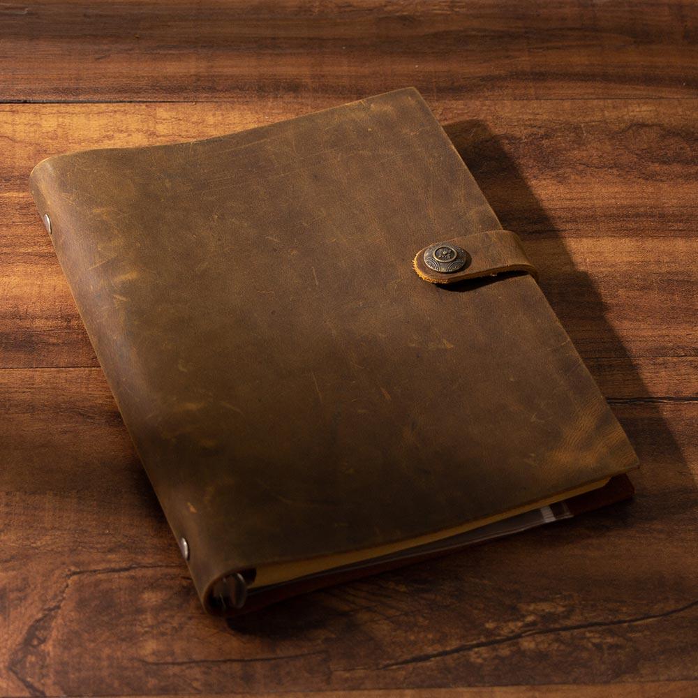 handmade Traveler's Note Book notebook brown Genuine Leather Cowhide leather diary vintage loose leaf planner Sketchbook-in Notebooks from Office & School Supplies