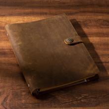 Livro de nota feito à mão para viajante, caderno marrom de couro bovino genuíno diário vintage folhas soltas planejador