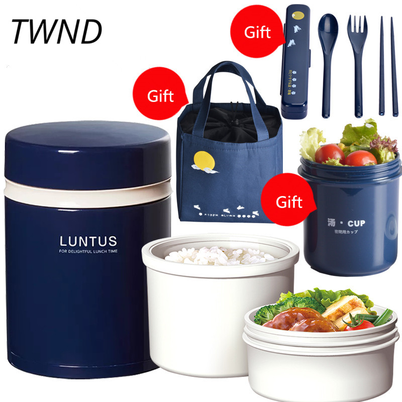 Japan style bento box plastic lunch box simple microwaveble man woman children tableware with bags soup