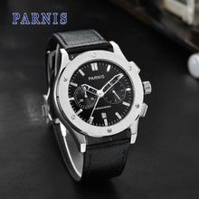 42mm Parnis Black Dial As the picture shown Chronograph Date Luxury Brand Quartz Movement men's Watch недорого