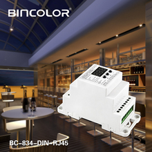 BC-834-New DIN-RJ45 DIN Rail DC12 24V 6A*4CH output,4CH Constant voltage DMX512/1990 Decoder controller for led strip lamp bc rj45 connect led rgb rgbw 624 din bc 632 din bc 640 din 24 32 40 ch dmx512 8bit 16bit dc12v 24v strip lamp decoder