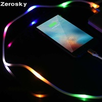 Zerosky Micro USB Colorful LED Visible Light Cable Cord Charge Data Sync For Android Iphone Type