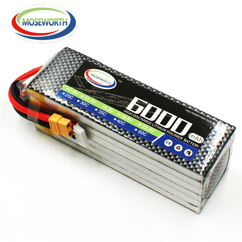 MOSEWORTH 6S RC Lipo Battery 22.2v 25C 6000mAh For RC Aircraft Helicopter Drones Car Quadcopter Airplane Li-polymer Batteria 6S 1s 2s 3s 4s 5s 6s 7s 8s lipo battery balance connector for rc model battery esc