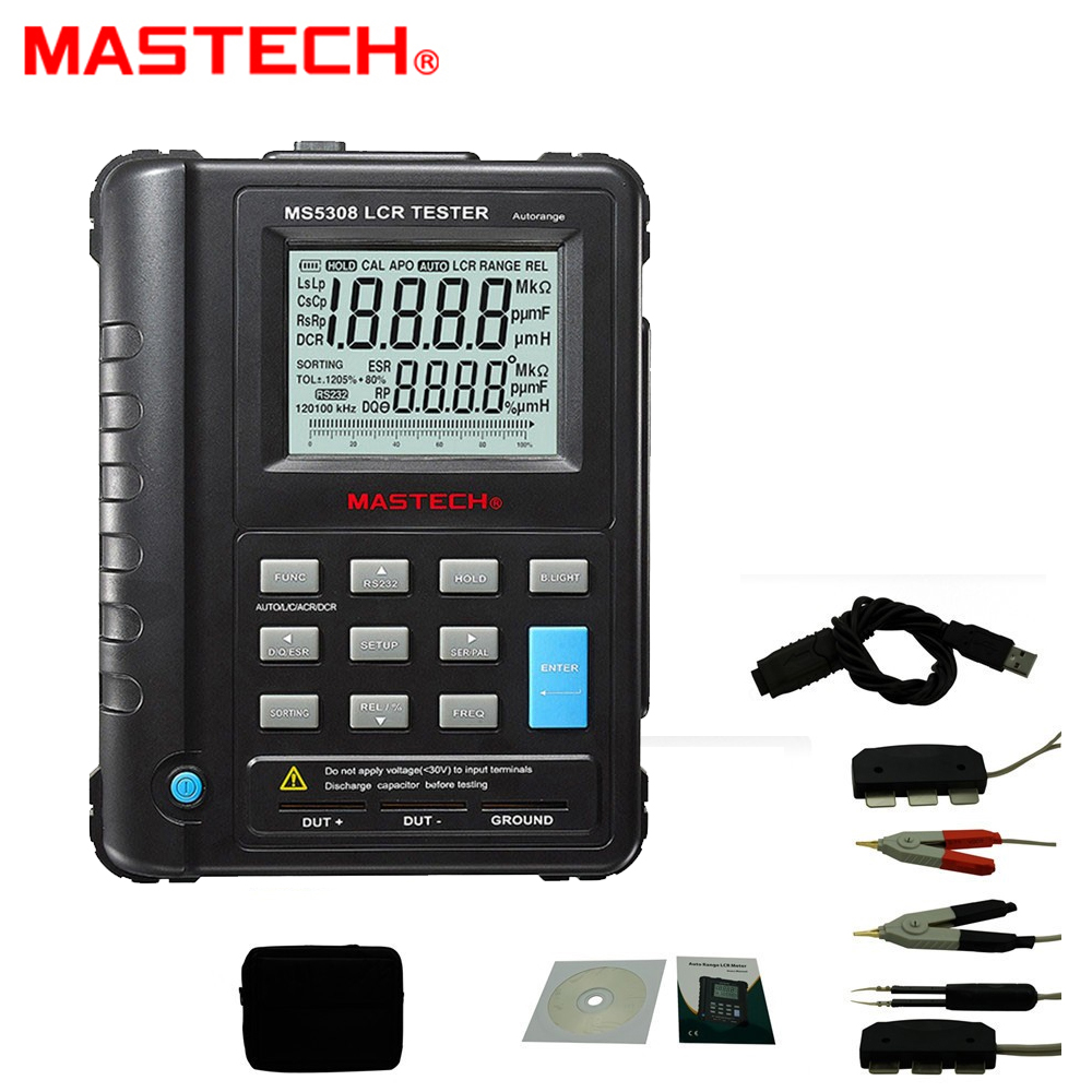 Mastech MS5308 LCR Meter Portable Handheld Auto Range LCR Meter High-Performance 100Khz 19,999/1,999 dual LCD display цена 2017
