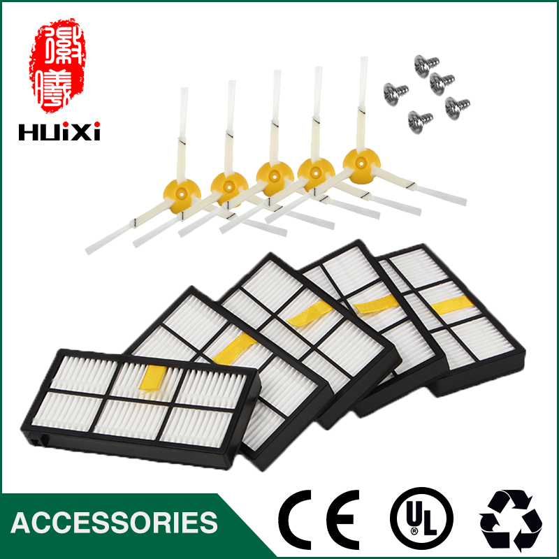 5pcs HEPA Filter+5pcs Side Brush+5pcs Short Screw Duable for 800 870 880 900 980 Robot Vacuum Cleaner Parts for House