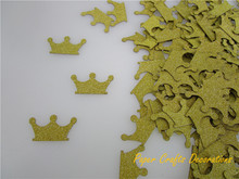 200pcs/pack 3cm=1.2inch Gold Crown Glitter Cardstock Confetti Throwing Wedding Baby Shower Birthday Party Decorations