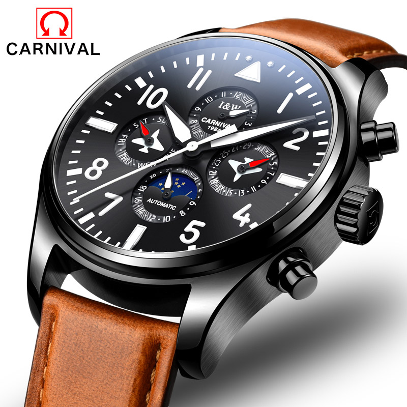 Carnival Watch Men Moon Phase Automatic Mechanical Luminous Stainless Steel Waterproof multifunction Leather Watches все цены