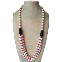 28 inches Three Rows 9 10mm High Luster Natural Round Freshwater Pearl and Black Onyx Necklace with JumpRing Clasp