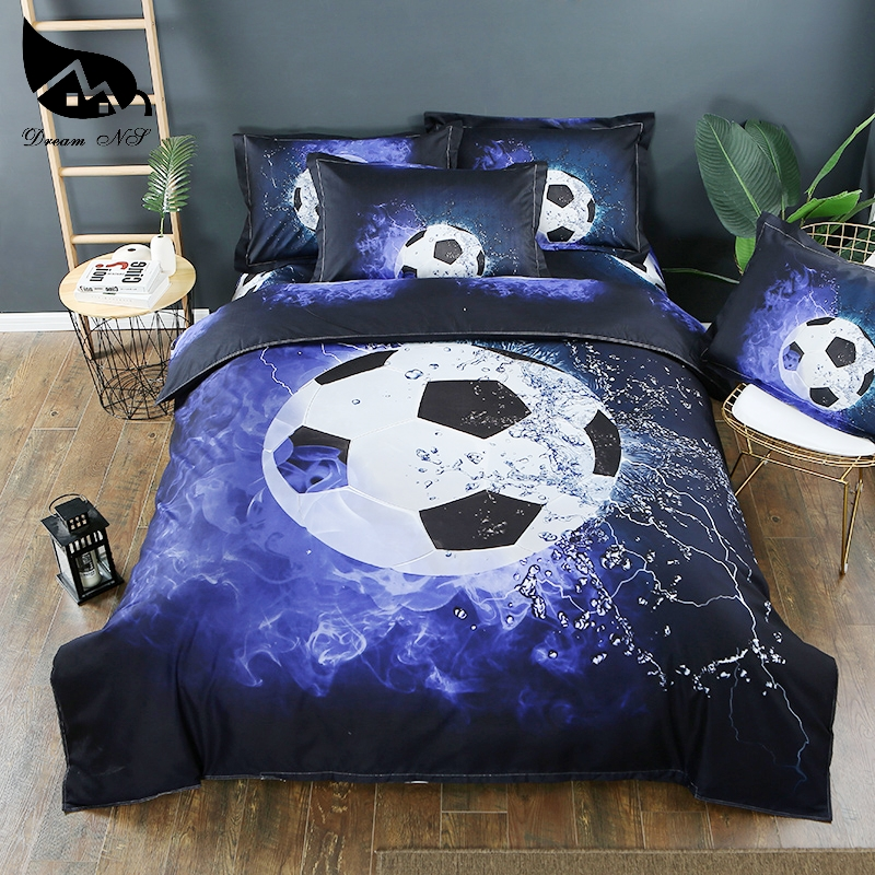 Dream NS 3D-effect Kussensloop Bed Set Football And Flame + Water Duvet Cover Sets Bed Cover Bed Linen Fire Bedding Kit PN004