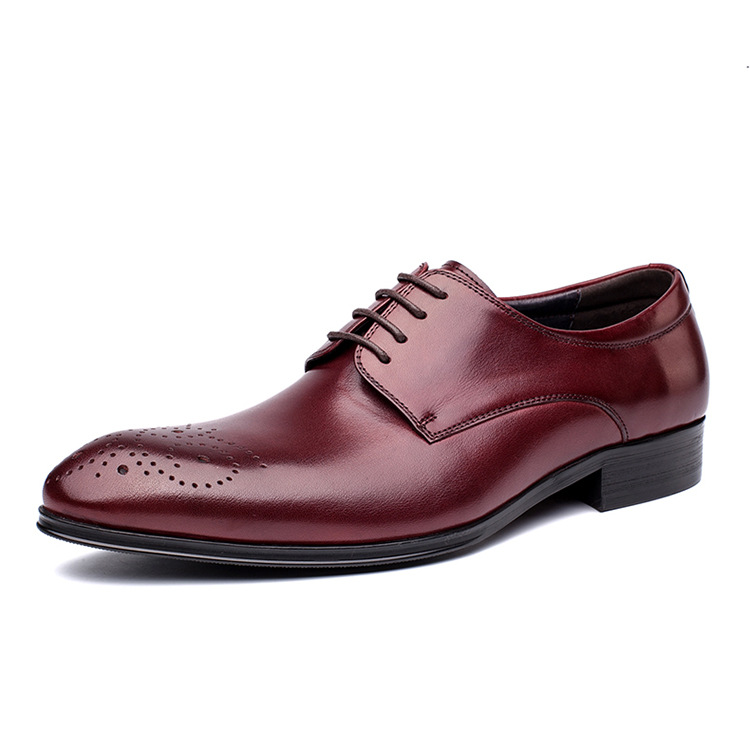 Fashion Red Black Goodyear Welt Shoes Oxfords Mens Business Shoes Genuine Leather Dress Shoes Mens Wedding Shoes YJ-B0012 2016 luxury mens goodyear welted oxfords shoes vintage boss brogue shoes italian mens dress shoes elegant mens gents shoes derby