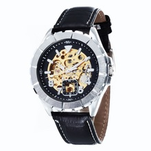 GOER brand Men s sports waterproof wrist watch mechanical Automatic Leather Skeleton Luminous male Watch