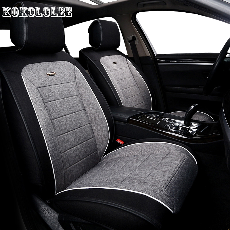 KOKOLOLEE Universal auto linen Car seat cover For Toyota RAV4 Land Cruise PRADO COROLLA Prius Reiz CROWN automobiles accessories