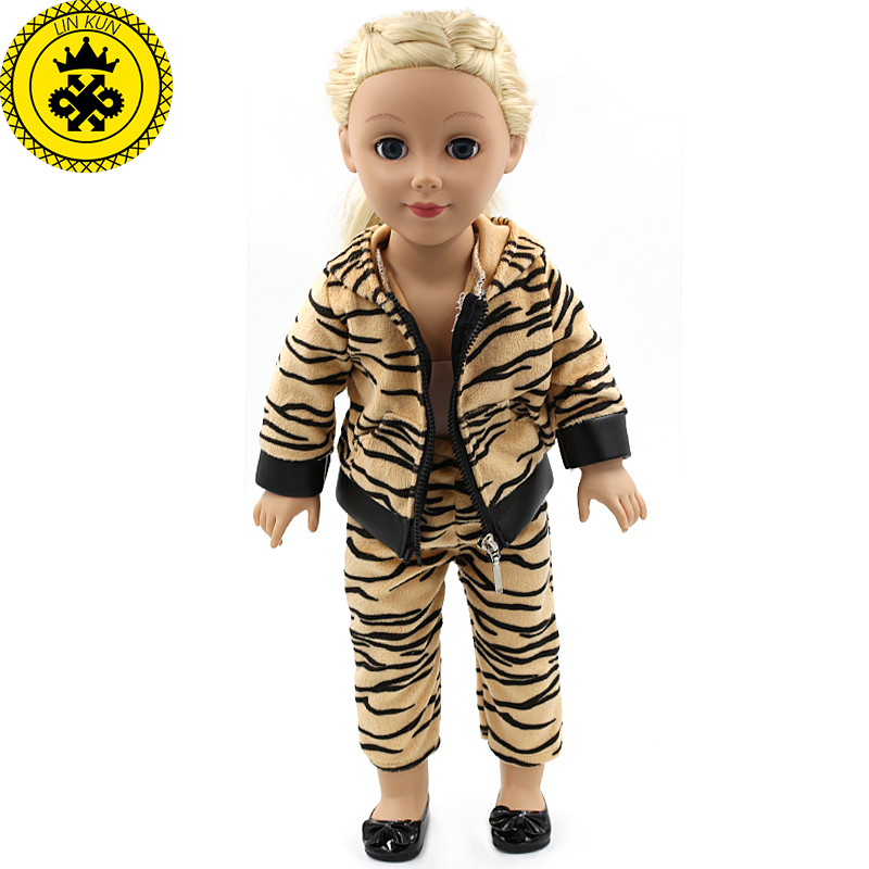 American Girl Dolls Clothing Tiger Jackets and Pants Suit Dolls Clothing of 18 inch Doll Clothes Accessories Best Gift MG-186 american girl doll clothes superman and spider man cosplay costume doll clothes for 18 inch dolls baby doll accessories d 3
