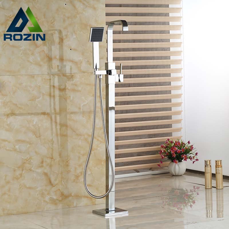 Single Handle Brass Waterfall Floor Mount Bathtub Faucet Tub Filler Chrome Finish with ABS Handshower