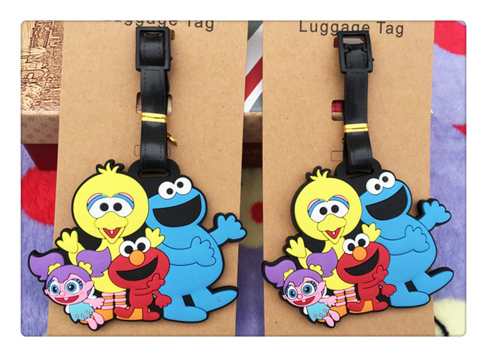 80 pcs/lot Anime Sesame Street figures luggage tag ELMO COOKIE MONSTER BERT ERNIE ZOE ROSITA PVC bag pendants shipping by DHL