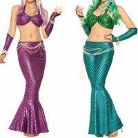 2018 New Women Sexy Sisters Mermaid Costume Suit Game Uniform Mermaid Cosplay Clothing Bra+Trousers + Oversleeve