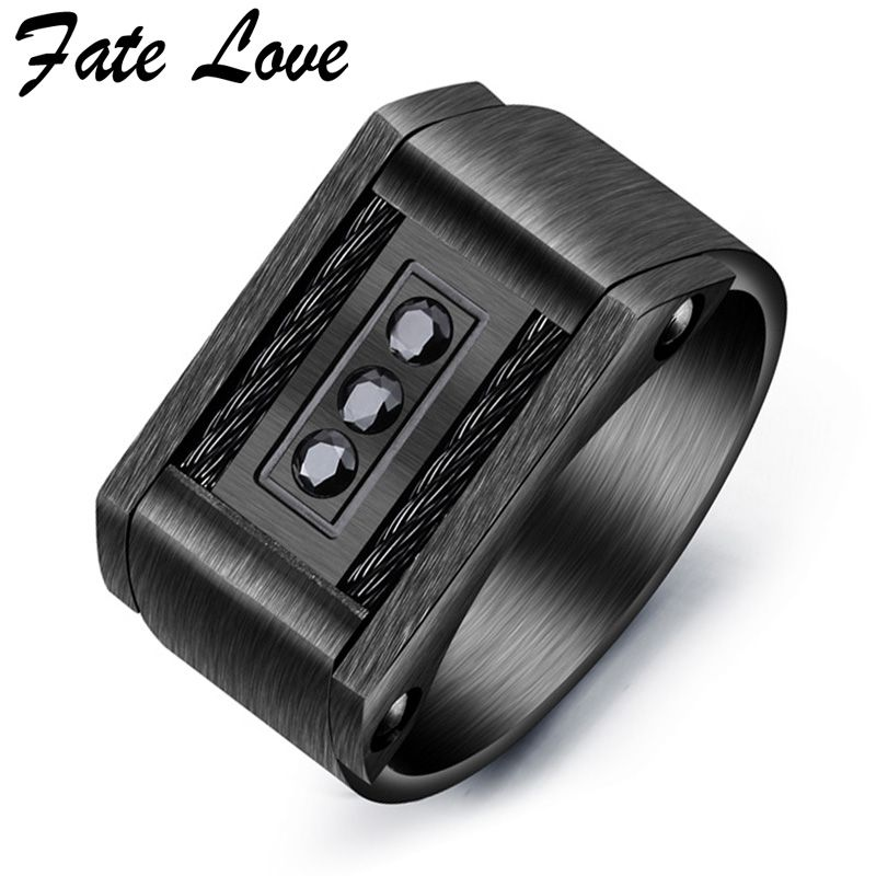 Buy Fate Love Black Men Ring Punk Stainless Steel Finger Rings 2017 Fashion Jewelry Party Ring Anillos Mens Jewellery Bague Homme for $6.36 in AliExpress store