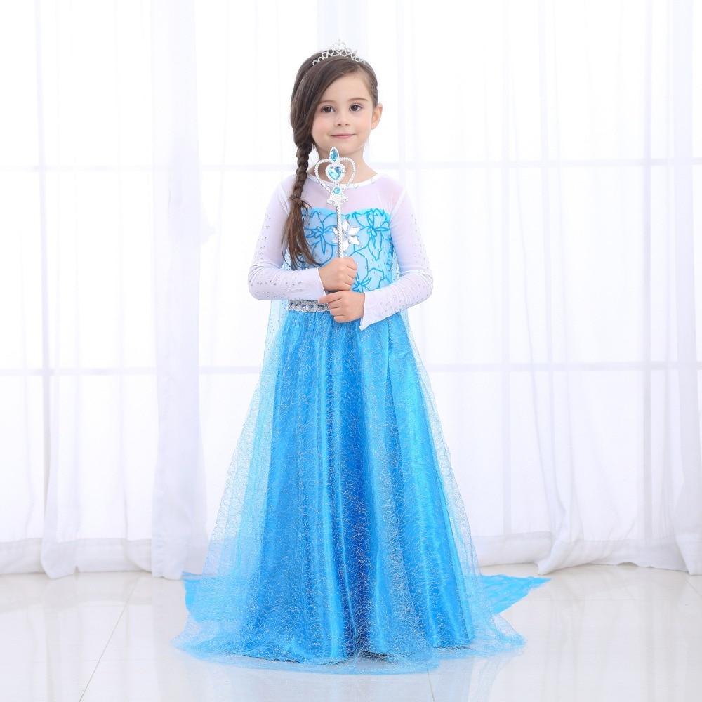 Halloween Dresses Girls Princess Anna Elsa Cosplay Costume Kid's Party Dress Kids Clothes for Birthday Party Vestidos Menina