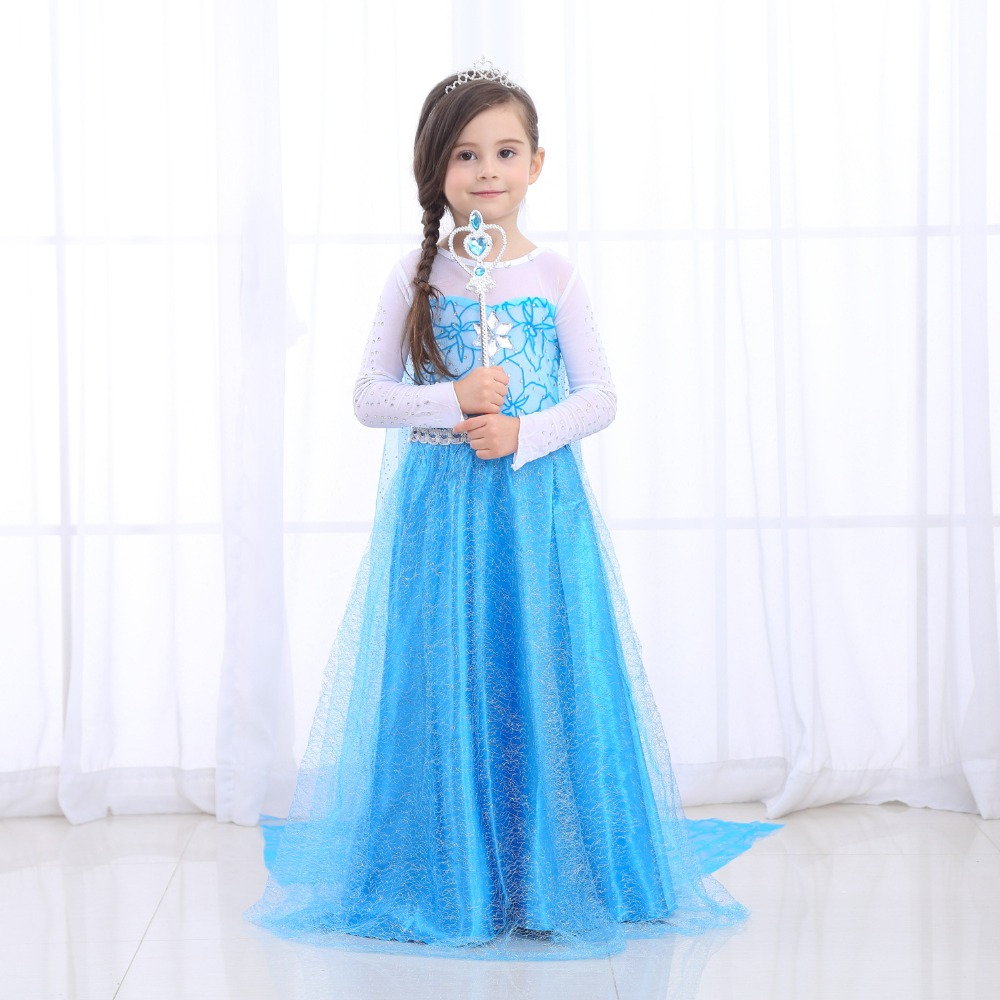 Halloween Dresses Girls Princess Anna Elsa Cosplay Costume Kid's Party Dress Kids Clothes for Birthday Party Vestidos Menina