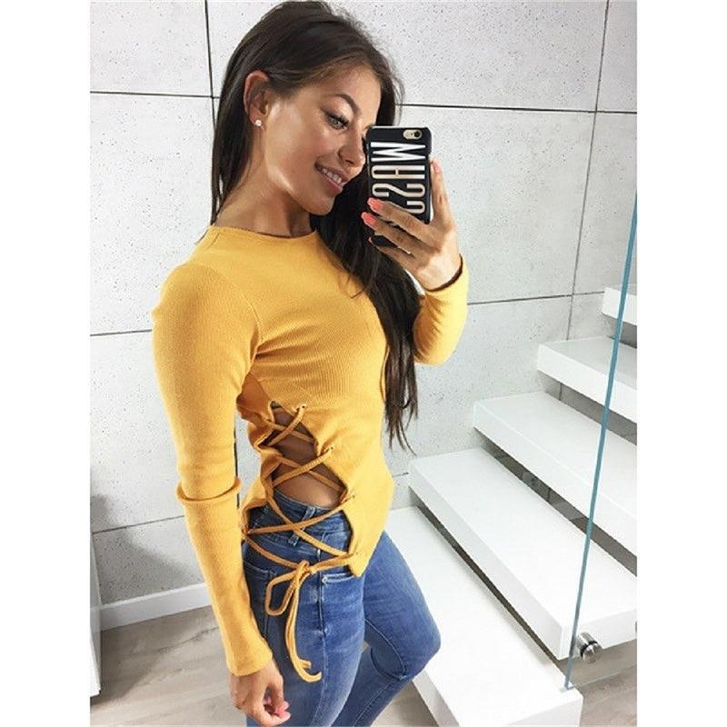 Рубашка женская 2018 личность с ремешками рубашка с длинными рукавами футболка женская рубашка Harajuku с длинным рукавом рубашка женская готиче...