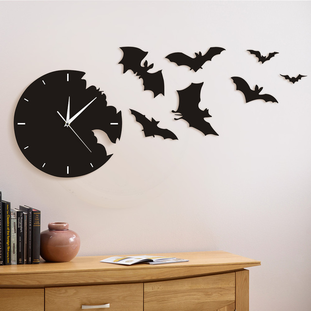 1piece scary bat symbols bat clock from the escape clock halloween bat silhouette wall clock home