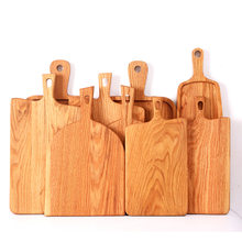 1Pcs Wood bread tray vintage Chopping block Handle pizza board Nordic cake food photography props wooden bread plate(China)