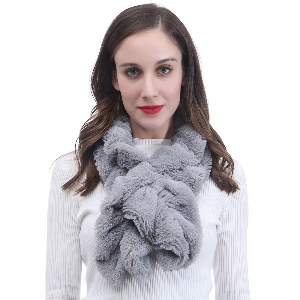 Ladies Plain Pull-Through Pearl Faux Fur Scarf Womens Soft Shawl Scarfs Wrap